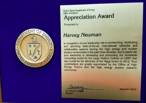 Caltech PMA's Harvey Newman receives Department of Energy